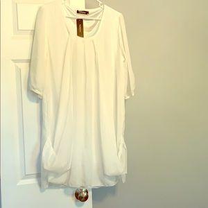 White /pink sheer tunic